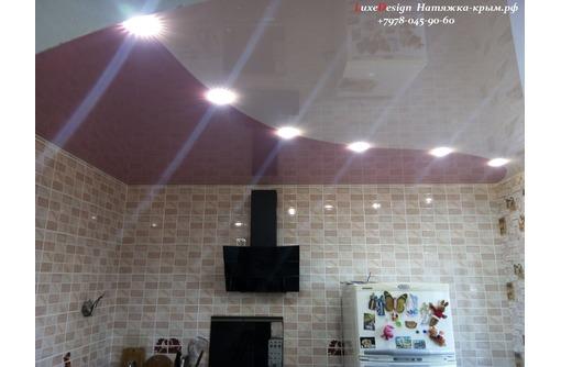 Комбинированные натяжные потолки-криволинейная спайка полотен, фото — «Реклама Джанкоя»