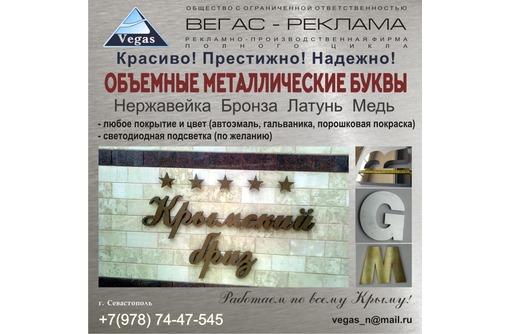 Буквы из нержавейки, меди, латуни и др., фото — «Реклама Севастополя»