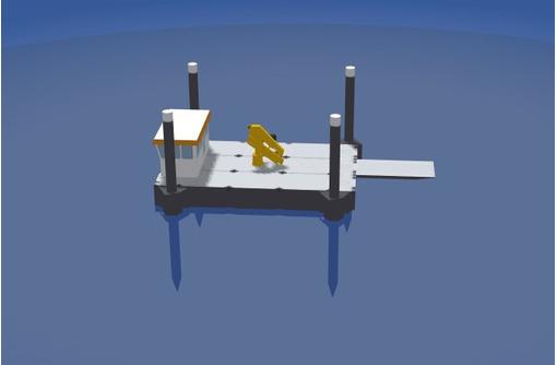 Несамоходный плавучий кран с КМУ Soosan SCS514, фото — «Реклама Ейска»