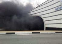 Хлебовозка сгорела в одном из тоннелей Сочи, фото — «Рекламы Туапсе»