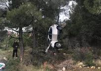 В Геленджике кроссовер вылетел с дороги и повис на ветвях дерева, фото — «Рекламы Геленджика»