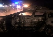 В Краснодарском крае после ДТП загорелась Honda. Водитель погиб, трое пострадали, фото — «Рекламы Приморско-Ахтарска»