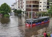 В центре Краснодара после мощного ливня утонул трамвай ВИДЕО, фото — «Рекламы Кубани»