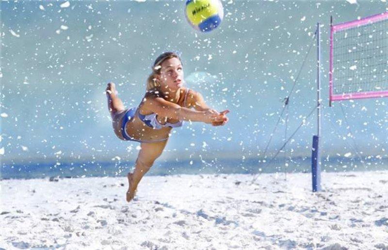 Привет, волейбол в картинках на снегу