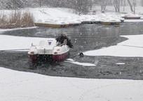 Попросил взаймы катамаран: В Симферополе мужчина вытащил из-под льда дворняжку ФОТО, фото — «Рекламы Ялты»