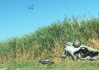 В Крыму сгорел пассажир разбитой в ДТП иномарки, 19-летний водитель в реанимации, фото — «Рекламы Белогорска»